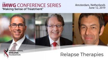 title card for IMWG conference series Amsterdam 2019 Relapse therapies