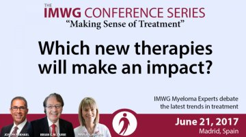 Drs. Brian G.M. Durie, Joseph Mikhael, and Maria V. Mateos discuss the latest news and trends in the treatment of Multiple Myeloma at the 8th IMWG