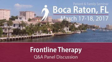 IMF Patient & Family Seminar 2017 text overlaid on a coastal picture of Boca Raton, Florida
